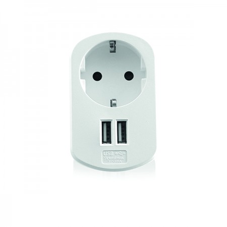 CARREGADOR EWENT USB 2PORT 3.1A WITH SHUKO POWER SOCKET WHITE